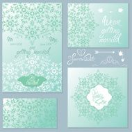 Set of Wedding invitation cards with floral elements N3