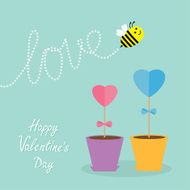 Heart stick flower pot bee love Flat design Valentines day
