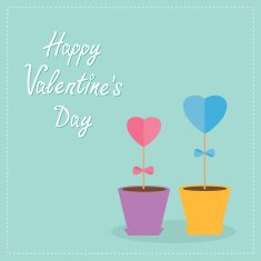 Two heart stick flowers in the pots Flat design Valentines day