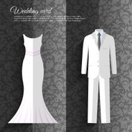 wedding beautiful suits clothing ornamental style card icon set background N2