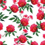 Watercolor red rose seamless vector pattern