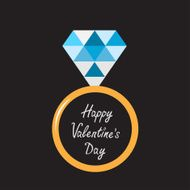 Wedding gold ring with blue diamond Happy Valentines Day card N2