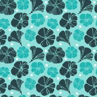 Abstract retro blue flowers pattern