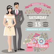 Cute wedding invitation with bride groom floral elements