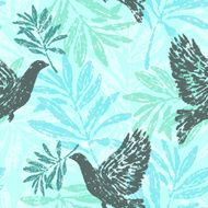 Seamless pattern with olive branches and pigeons