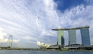 The Marina Bay Sands in Singapore on a background of blue sky
