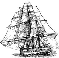 ship sails war drawing