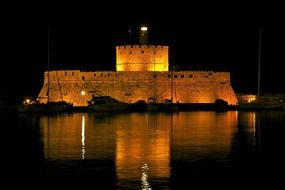 saint nicholas fortress at night, greece, Rhodes
