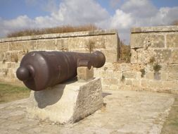 Historical cannon on a fortress