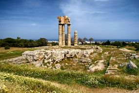 temple of appollon ruins at landscape, greece, rhodes