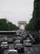 traffic jam to the Arc de Triomphe in Paris
