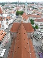the red roof of the parisian church in Munich