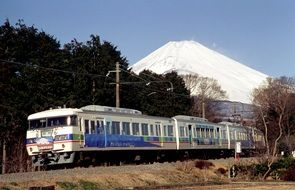train on the background of Mount Fuji in Japan