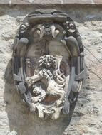 coat of arms with a lion on the wall