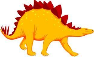 yellow dinosaur with red spikes