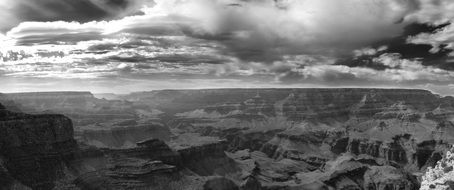 Black and white photo of the Grand Canyon