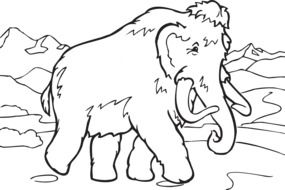 black and white drawing of a mammoth