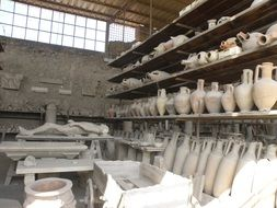 archaeological finds of the city of Pompeii in Italy