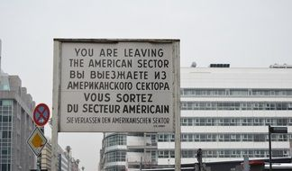 famous sign at the former Berlin border