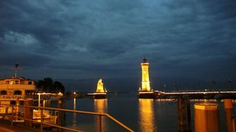 lindau port lighthouse night