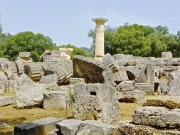 roman column ruins in Olympia Greece