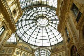 inside view on the dome of the gallery in Milan, Italy