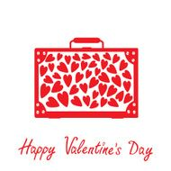 Big red suitcase with hearts Isolated Happy Valentines Day car
