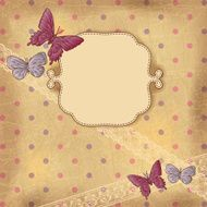 Vintage background with butterflies and lace Old paper
