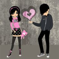 Emo love ♥ teenager girl lolita cosplay illustration vector N2