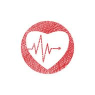 Cardiology icon with heart and cardiogram hand drawn vector