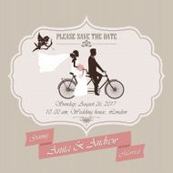 Wedding invitation tandem bicycle