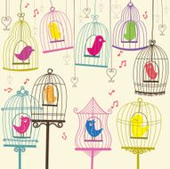 Retro Lovely Birdcage - Illustration N2