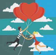 Man and woman flying with balloons of love N2