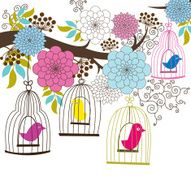 Retro Wedding Floral and Birdcage - Illustration N2