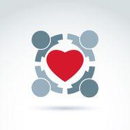 Heart and arrows icon medical health organization vector