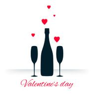 Bottle and glasses of champagne with hearts on white background