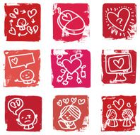 Online dating and romance icon set N2