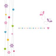 cute hearts flowers dots and butterflies greeting card N2