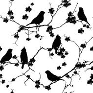 Bullfinches on the branch seamless vector pattern N2