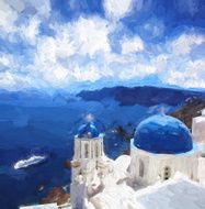 Oia village in Santorini island Greece Oil painting ART STYLE