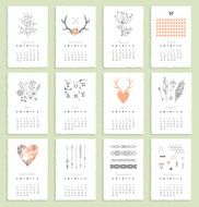 Calendar 2015 with hand drawn romantic elements Isolated Vector N2
