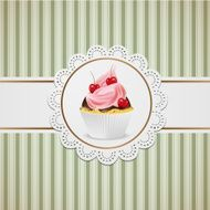 Cupcake with cherriss and pink cream