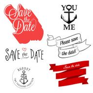 Set of wedding invitation typographic design elements