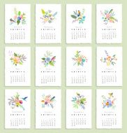 Calendar 2015 with flowers and birds Isolated Vector