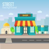 shop building in city space with road on flat background N2