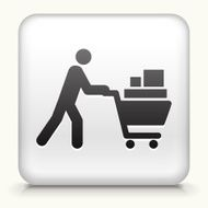Square Button with Person Pushing Shopping Cart N2