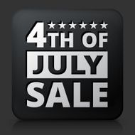 Black Square Button with 4th of July Sale Icon N2