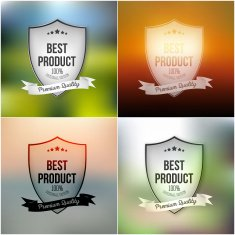 Best product shields set isolated on blurred background