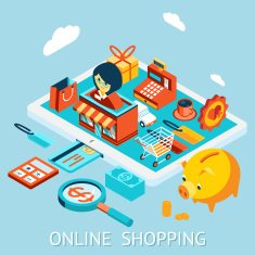 Online shopping on tablet computer