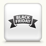 White Square Button with Black Friday Sale Icon N2